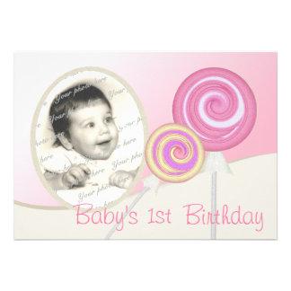 Baby s First Birthday Lollipop Custom Announcement