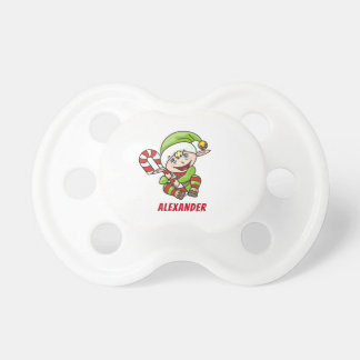 Baby`s First Christmas Elf Candy Cane Pacifier
