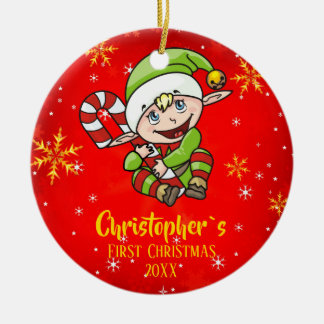 Baby`s First Christmas Elf Candy Cane Red Ceramic Ornament
