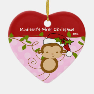 Baby s First Christmas Ornament Girl Santa Monkey