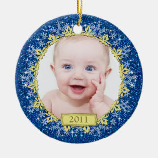 Baby s First Christmas Photo Ornament - Snowflakes