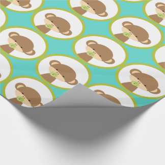 Baby Safari Monkey with Pacifier Pattern Wrapping Paper