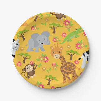 Baby Safari Yellow Paper Plate