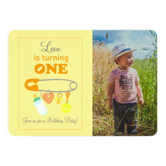 Baby safety pin first birthday photo invitation