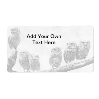 Baby Screech Owls Avery Label Shipping Label