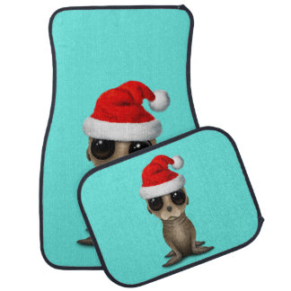 Baby Sea Lion Wearing a Santa Hat Car Mat