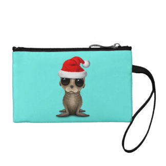 Baby Sea Lion Wearing a Santa Hat Coin Purse