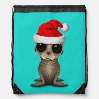 Baby Sea Lion Wearing a Santa Hat Drawstring Bag