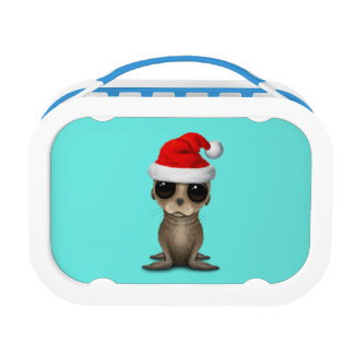 Baby Sea Lion Wearing a Santa Hat Lunch Box