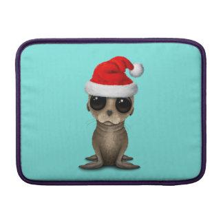Baby Sea Lion Wearing a Santa Hat MacBook Sleeve