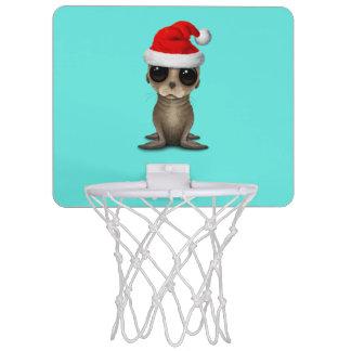 Baby Sea Lion Wearing a Santa Hat Mini Basketball Hoop