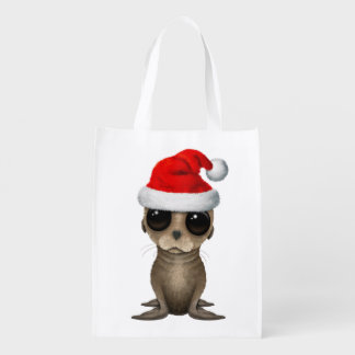 Baby Sea Lion Wearing a Santa Hat Reusable Grocery Bag
