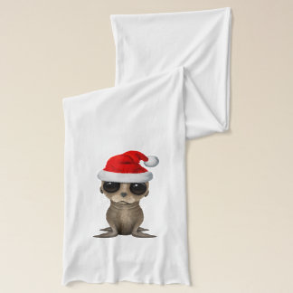 Baby Sea Lion Wearing a Santa Hat Scarf