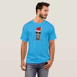 Baby Sea Lion Wearing a Santa Hat T-Shirt