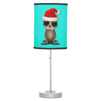 Baby Sea Lion Wearing a Santa Hat Table Lamp