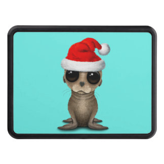Baby Sea Lion Wearing a Santa Hat Trailer Hitch Cover