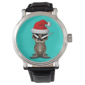 Baby Sea Lion Wearing a Santa Hat Watch
