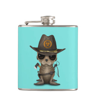 Baby Sea lion Zombie Hunter Hip Flask