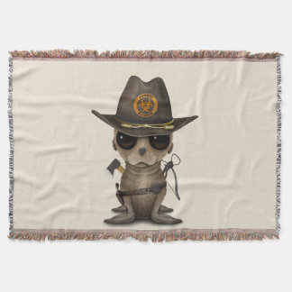 Baby Sea lion Zombie Hunter Throw Blanket