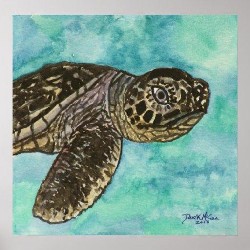 baby sea turtle coastal decor cute print art