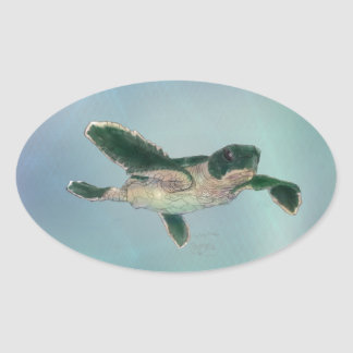 Baby Sea Turtle Oval Stickers
