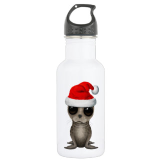 Baby Seal Wearing a Santa Hat 532 Ml Water Bottle