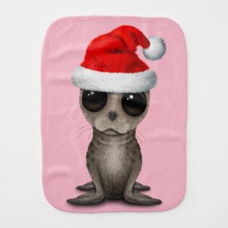 Baby Seal Wearing a Santa Hat Burp Cloth