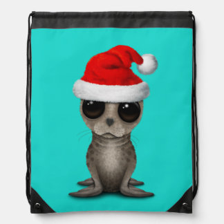Baby Seal Wearing a Santa Hat Drawstring Bag