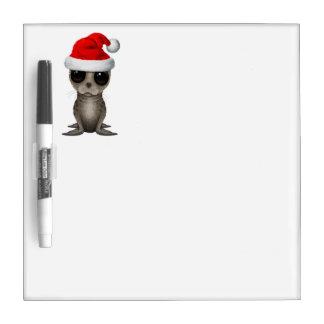 Baby Seal Wearing a Santa Hat Dry Erase Board