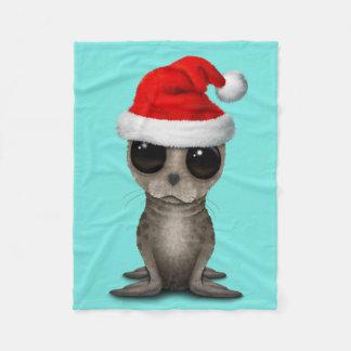 Baby Seal Wearing a Santa Hat Fleece Blanket