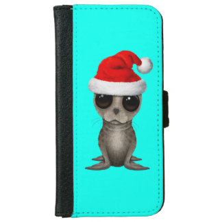 Baby Seal Wearing a Santa Hat iPhone 6 Wallet Case