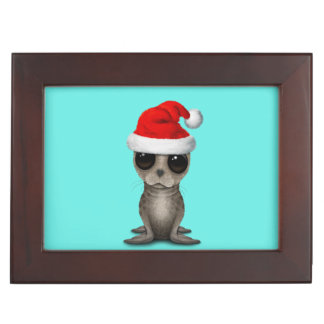 Baby Seal Wearing a Santa Hat Keepsake Box