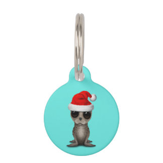 Baby Seal Wearing a Santa Hat Pet Name Tag