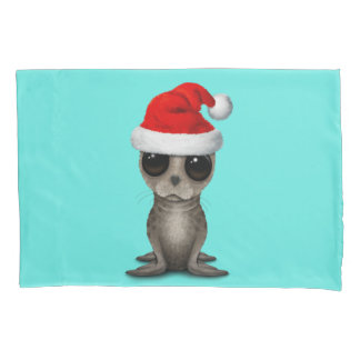 Baby Seal Wearing a Santa Hat Pillowcase