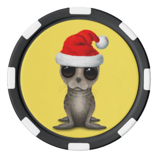 Baby Seal Wearing a Santa Hat Poker Chips