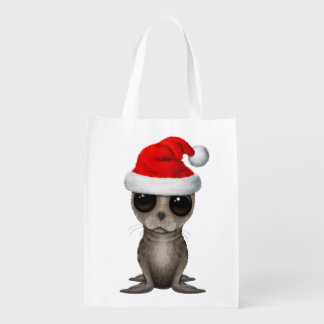 Baby Seal Wearing a Santa Hat Reusable Grocery Bag