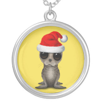 Baby Seal Wearing a Santa Hat Silver Plated Necklace
