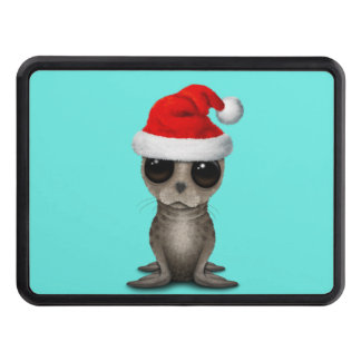 Baby Seal Wearing a Santa Hat Trailer Hitch Cover