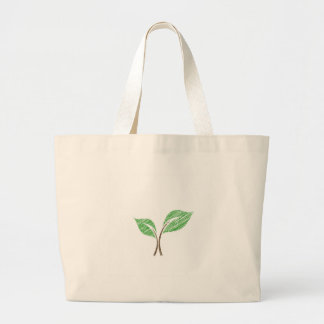 Baby seedling sketched large tote bag