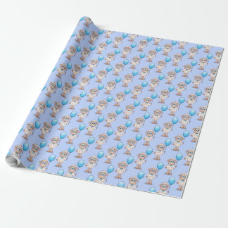 Baby Sheep Boy With Blue Baloon. Wrapping Paper
