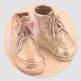 Baby Shoes Classic Round Sticker