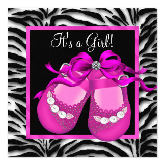 "Baby Shoes Hot Pink Zebra Baby Girl Shower 5.25"" Square Invitation Card"