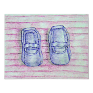 "baby shoes 4.25"" x 5.5"" invitation card"