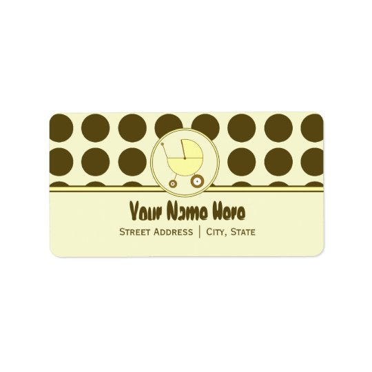 Baby Shower Address Label- Brown Dots & Yellow