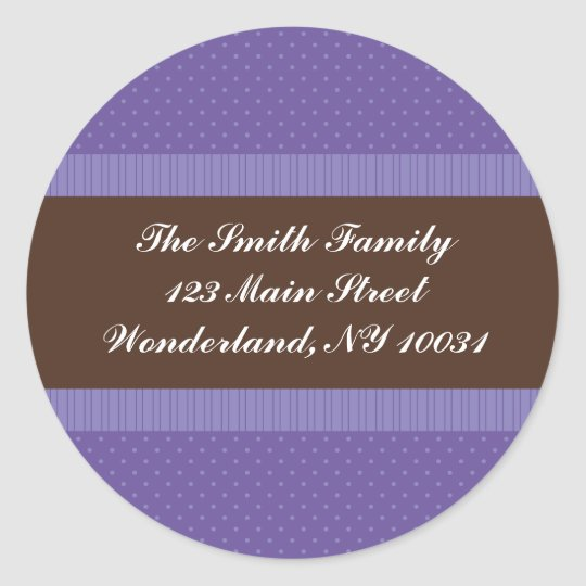 Baby Shower Address Label - Purple and Brown