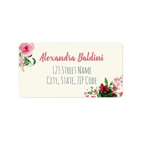 Baby Shower Address Labels Floral Pink