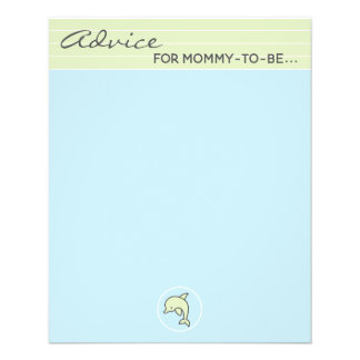 "Baby Shower Advice Card ""Blue/Green Dolphin"""