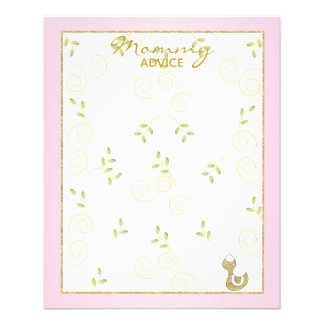 "Baby Shower Advice Card ""Gold Pink Birds"""