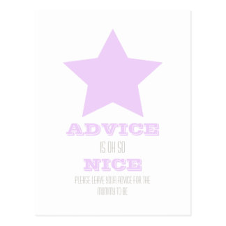 BABY SHOWER ADVICE CARD POSTCARD