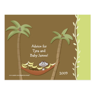 Baby Shower Advice Cards Monkey Around Green/Brown Postcards